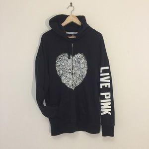 VS Pink black zip up hoodie